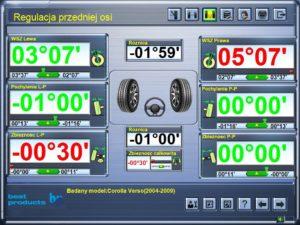 Ecoliner 500 3D - ekran regulacji przedniej osi